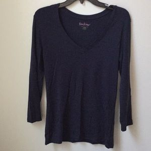Lilly Pulitzer 3/4 Sleeve Navy Tee Large L